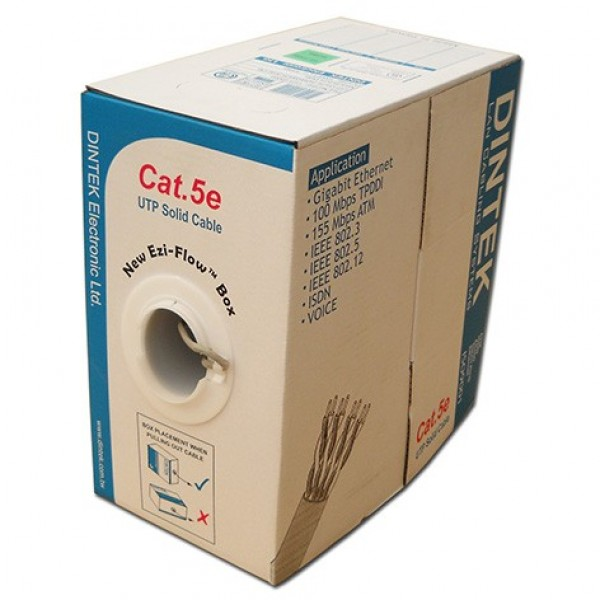 Cable Cat.5e 305M/Box 4P UTP Solid, 24AWG (PVC Grey, Blue, Red & Yellow )