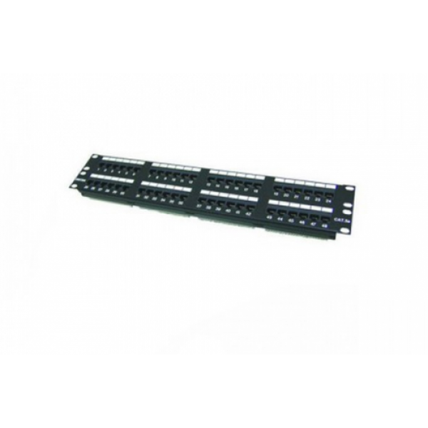 "Patch Panel Cat.5e 19"", 48 Ports, 2U , w/o shutter ( New Module Type 6-in 1 )"