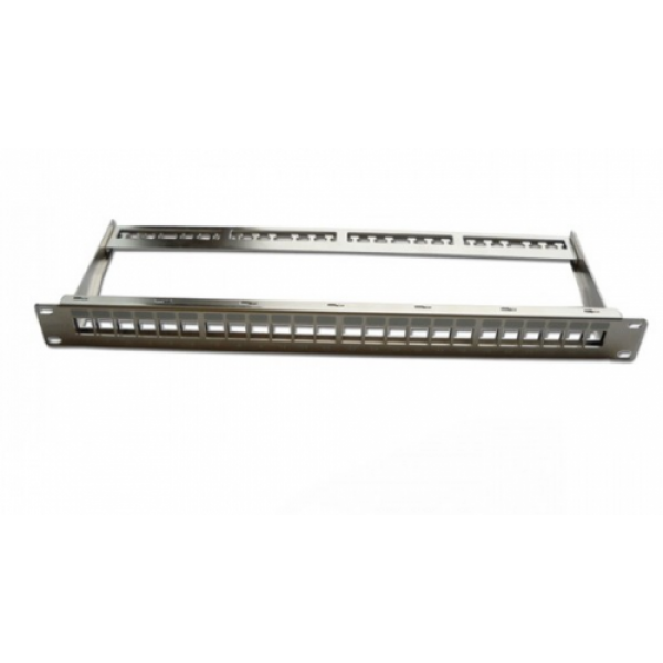 "Patch Panel 19"" 1U 24 Port Cat.6A FTP Snap-in type Blank panel with cable manager, metal silver"