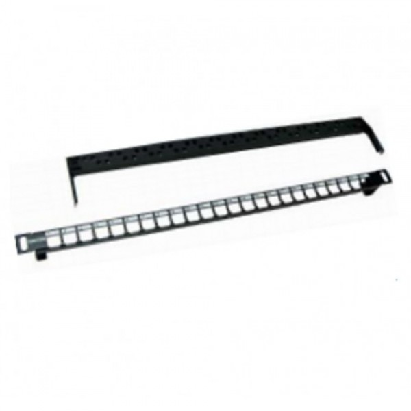 "Patch Panel 19"" 0.5U 24 Port UTP Modular Blank Panel with cable manager, metal black ( for Cat.5e & Cat.6 E or F-Jack )"