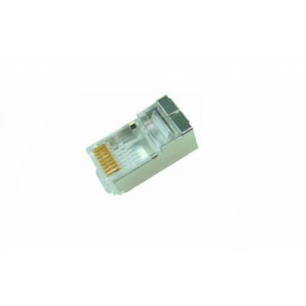 "Modular Plug Cat.6 Shielded RJ45 ( 3 Prong, 2pieces construction, 50u"" gold plated )"