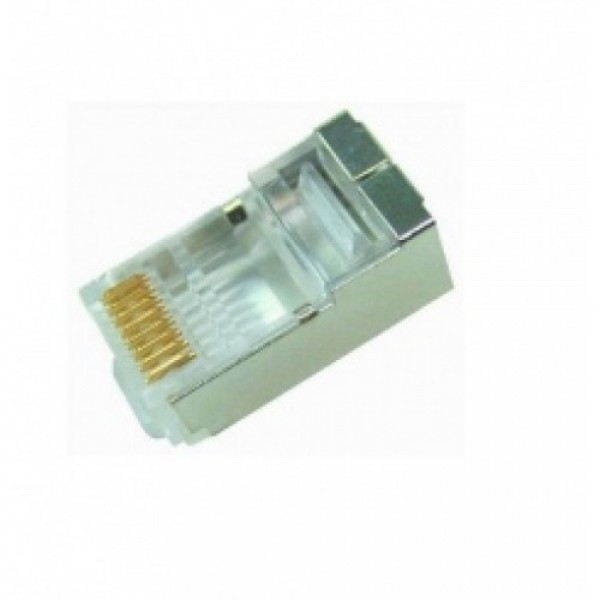 "Modular Plug Cat.6A Shielded RJ45 ( 3 Prong, 2pieces construction, 50u"" gold plated )"